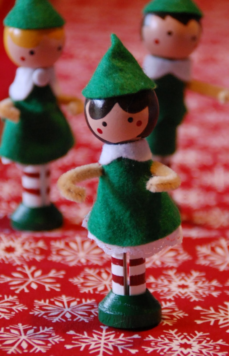 clothespin elves. Would be fun to make with the girls. Not a tutorial, but should be easy enough?