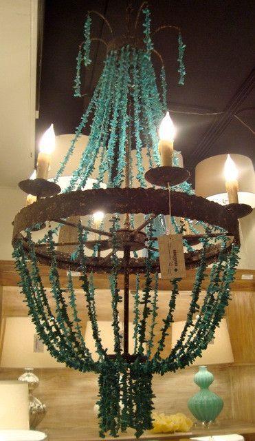 Beaded Chandelier - Turquoise | Tonic Home