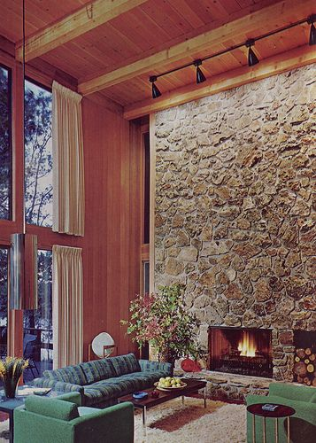 Soaring Stone Fireplace - Good Decorating and Home Improvement Published in 1970.