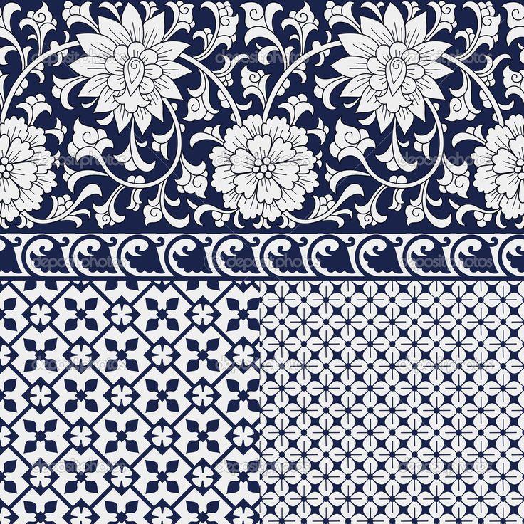 бесшовные Китайские орнаменты и узоры — Стоковая иллюстрация #38685507