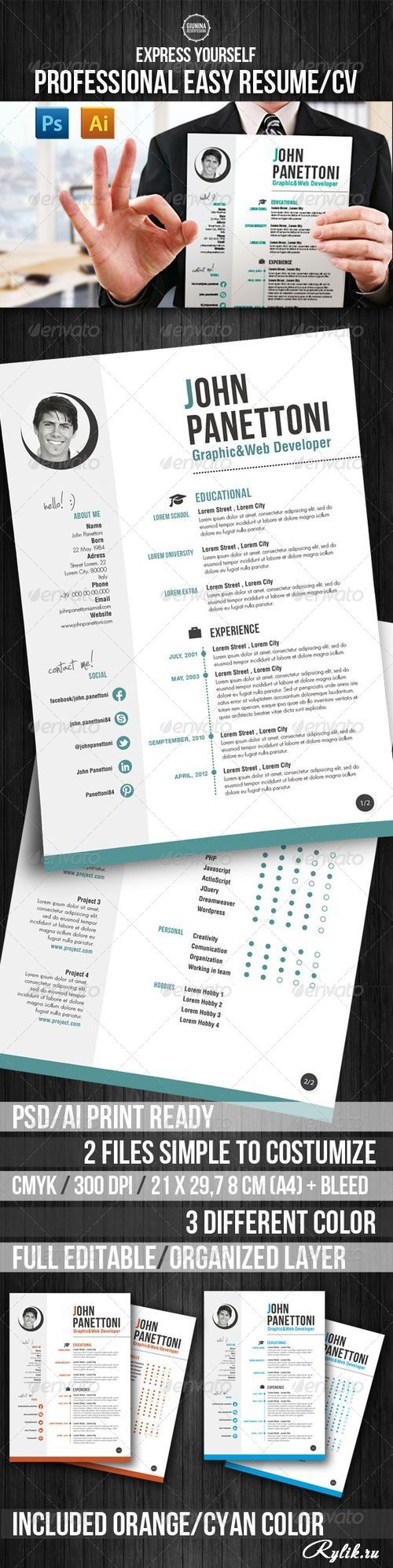 Резюме PSD шаблон. Professional Easy Resume/CV