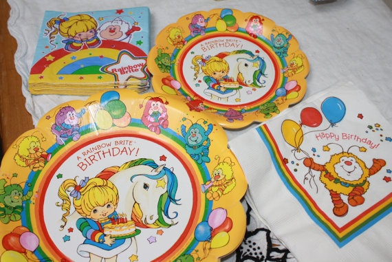 Rainbow Brite Party Plates and Napkins 1980s style birthday papergoods