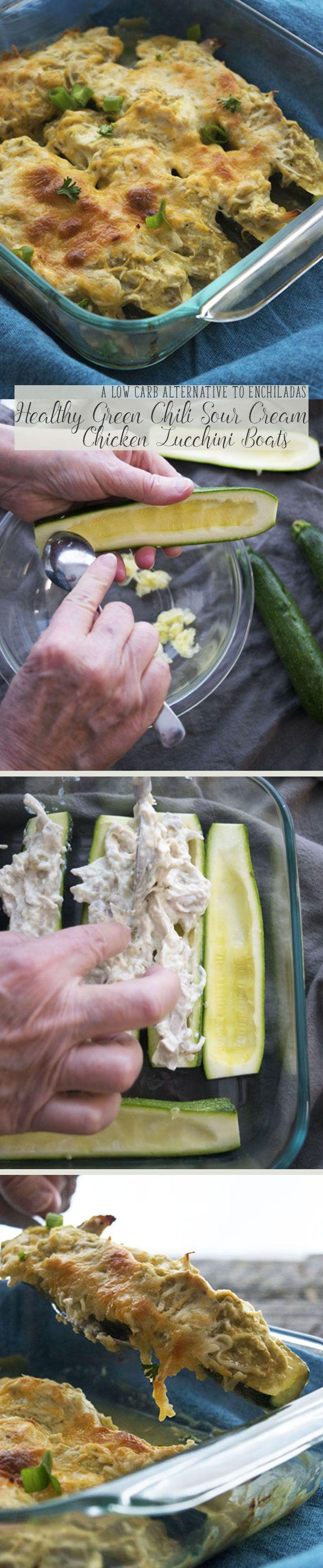 Blue apron zucchini enchilada - Healthy Green Chili Sour Cream Chicken Zucchini Boats