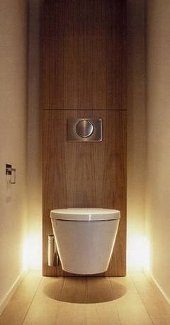 ambient lighting makes this small toilet seem bigger...