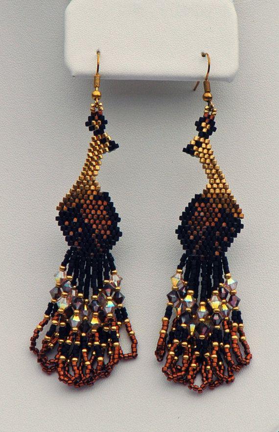 Beadwoven Swarovski Peacock Earrings ( some 24k gold plated beads)