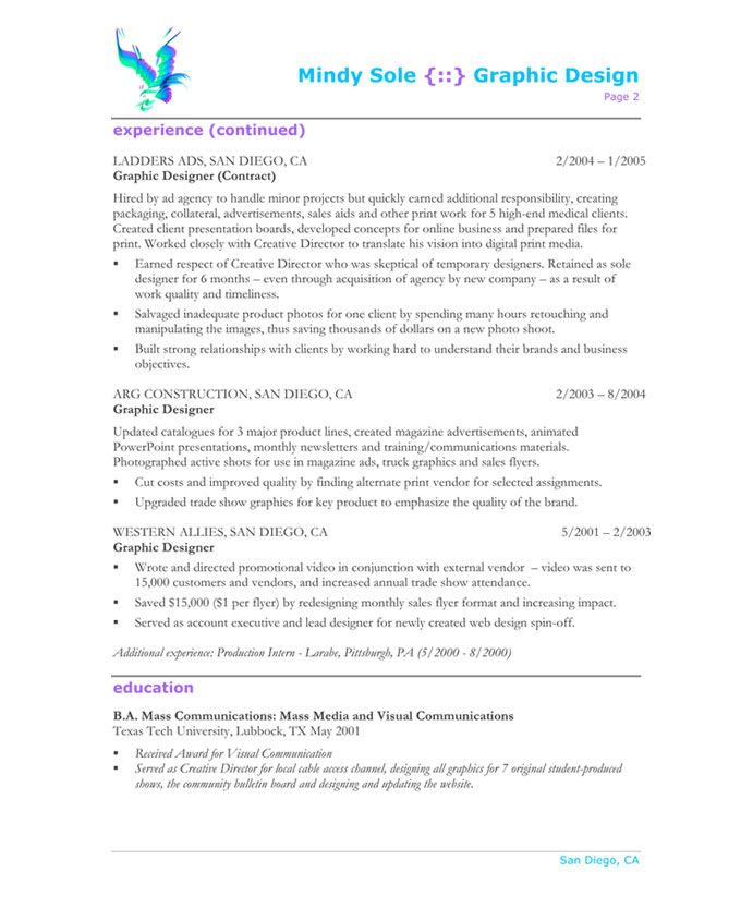 graphic designer page2 - Graphics Production Artist Resume