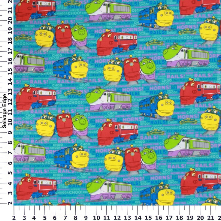 Licensed celebrity fleece cotton prints chuggington for Train print fabric
