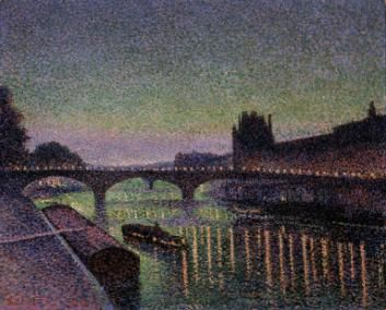 Maximilien Luce, The Louvre at the Pont du Carrousel at Night, 1890. Oil on canvas, 25 x 32 in. Private Collection