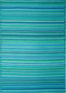 Indoor/Outdoor Cancun Rug, Turquoise & Moss Green, 3x5 - tropical - outdoor rugs - by Fab Habitat.  Great for patio?