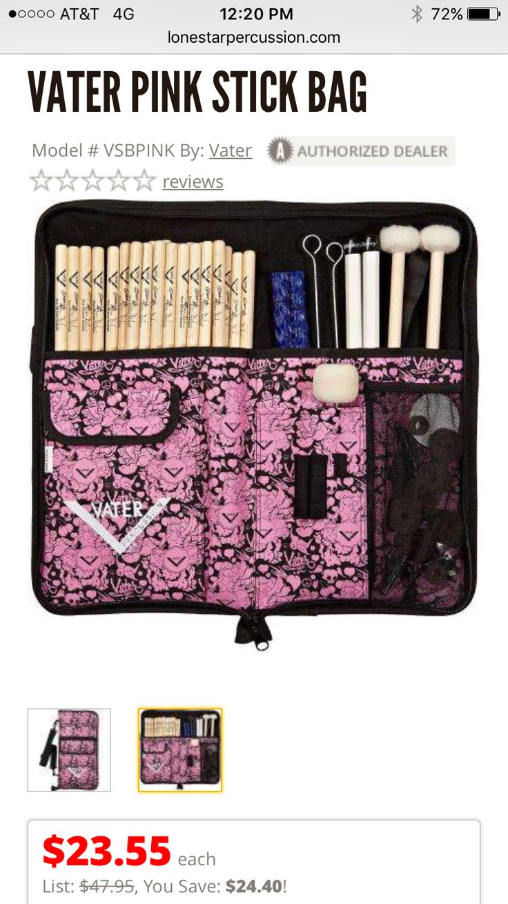 Pink Vater Stick Bag From Lone Star Percussion