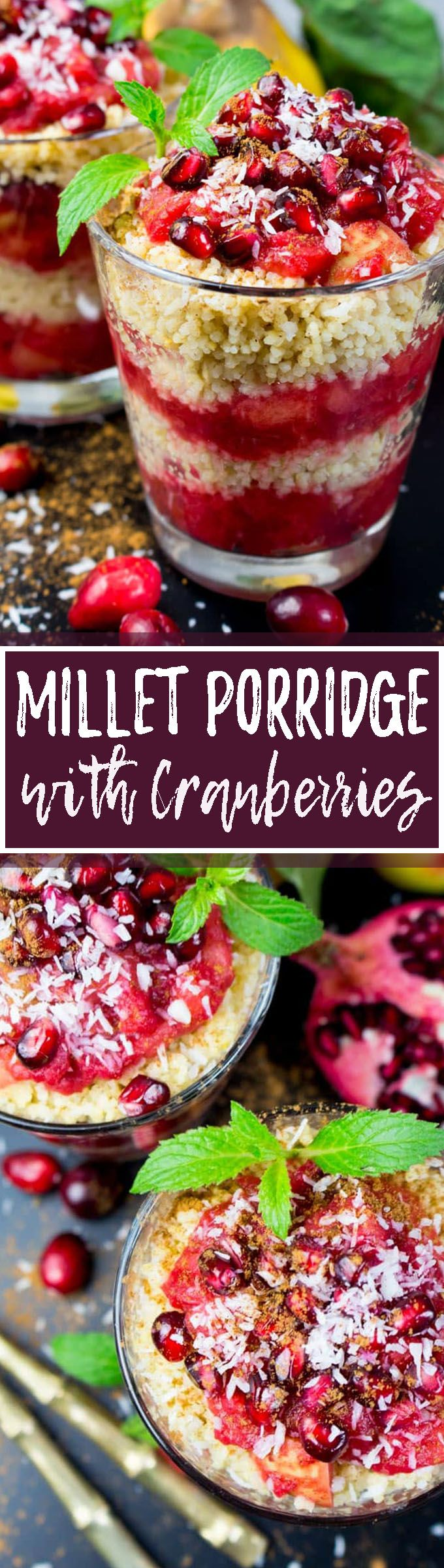 This millet porridge with cranberries, apples, and pomegranate is the perfect vegan breakfast for fall! I love topping it with cinnamon and coconut flakes. Sooo good! It's super healthy, easy to make, and incredibly delicious! Find more vegan recipes at veganheaven.org <3