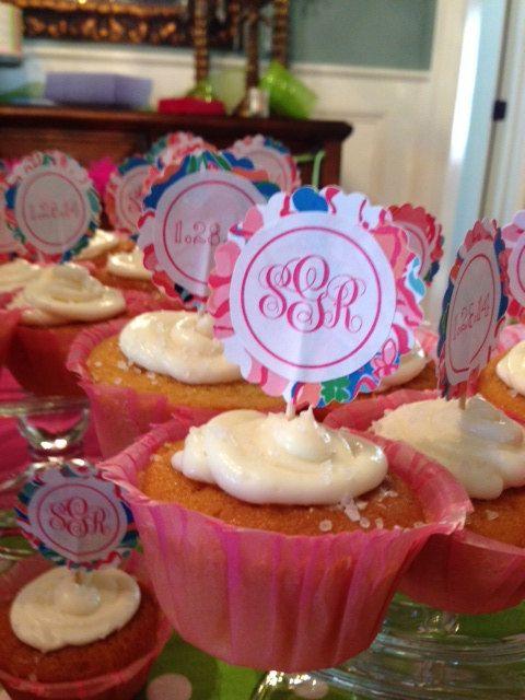 Shameless plug!! Lilly Pulitzer Inspired Monogram Cupcake by Station22Designs