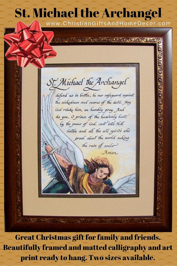 St Michael the Archangel prayer defend us in battle framed and matted calligraphy and art picture gift for confirmation, RCIA and home decor
