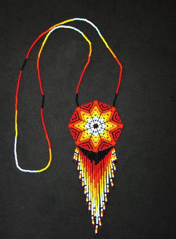 Medallion Necklace Huichol Jewelry Native by BiuluArtisanBoutique