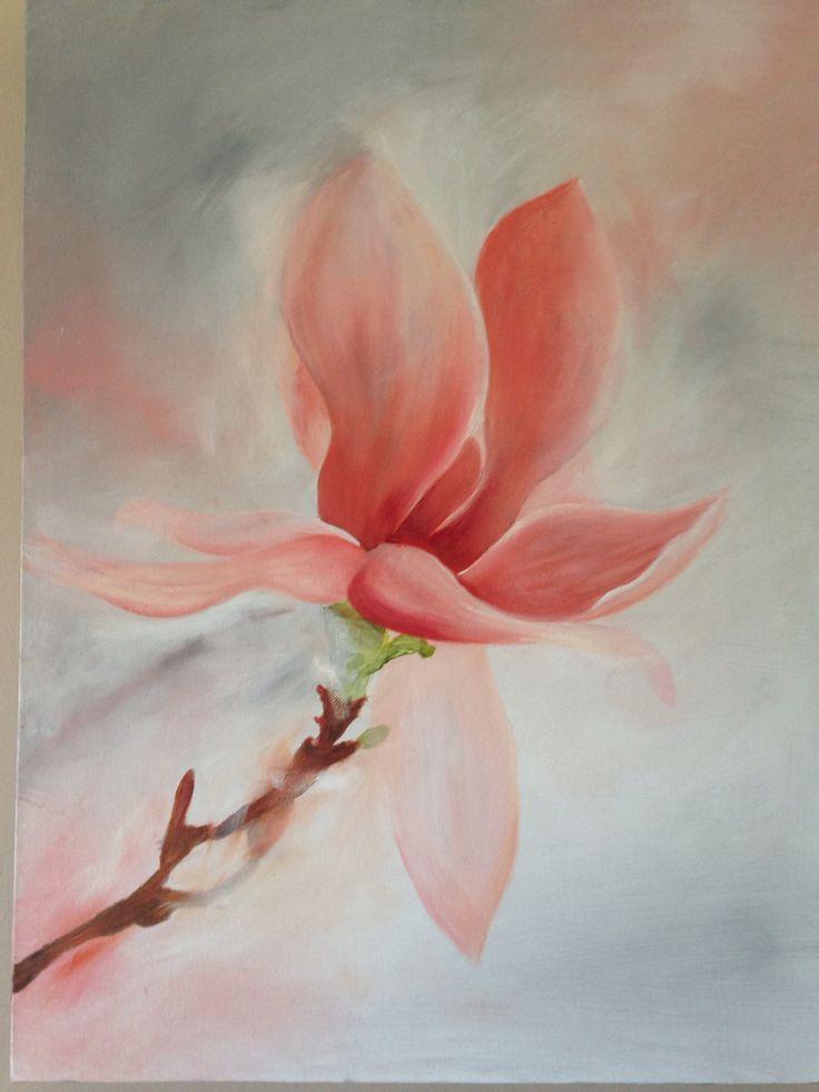 Magnolia on canvas- mix media