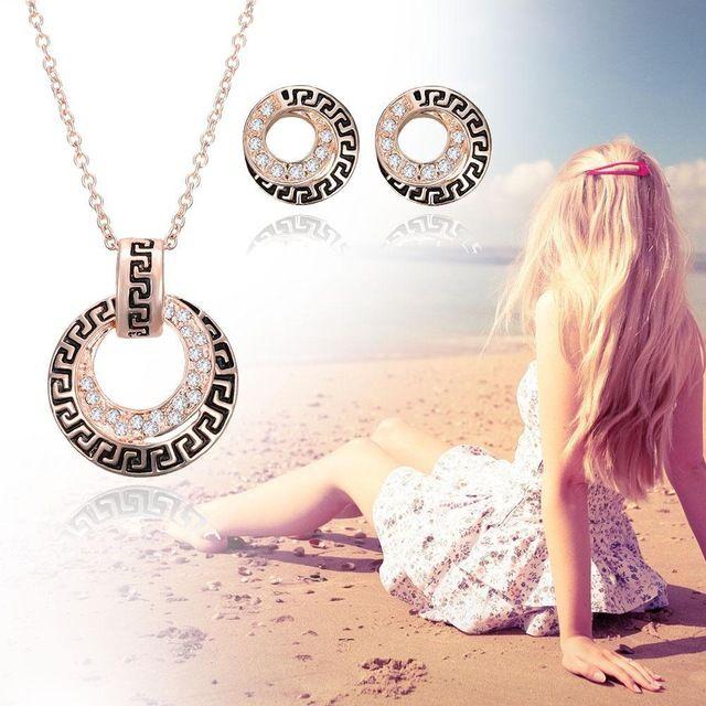 Уникальное розовое Золото 2 Шт. Ювелирные Наборы Горячая Кристалл Выдалбливают Геометрическая Себе Ожерелье Серьги для свадьбы подарок