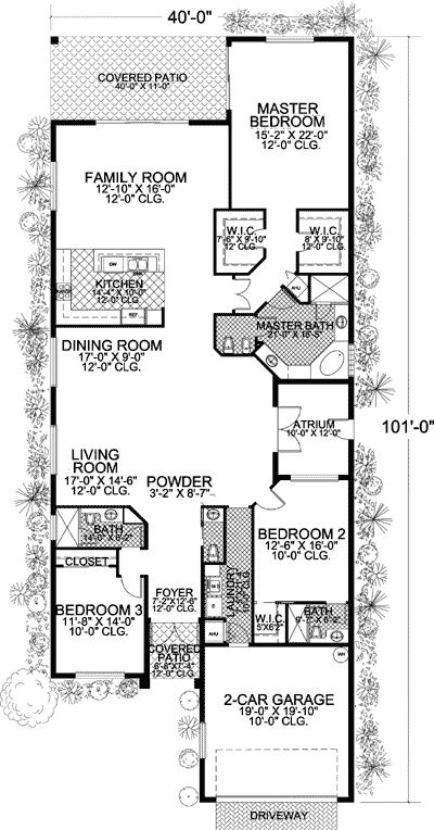 Long and narrow mediterranean home plan for Florida mediterranean house plans