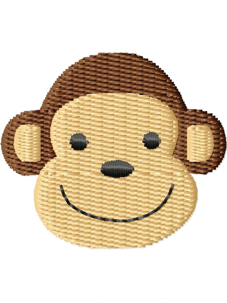 Monkey face mini machine embroidery design