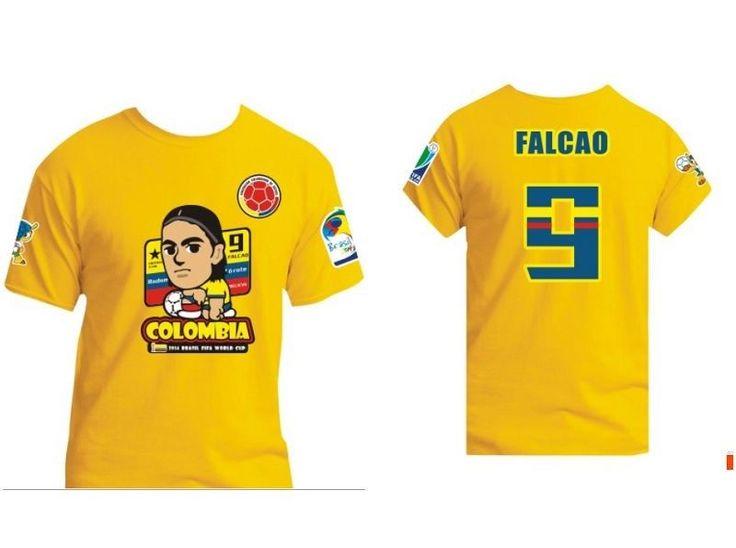 New 2014 Brazil World Cup Colombia Team Radamel Falcao Cartoon Tee T-shirt