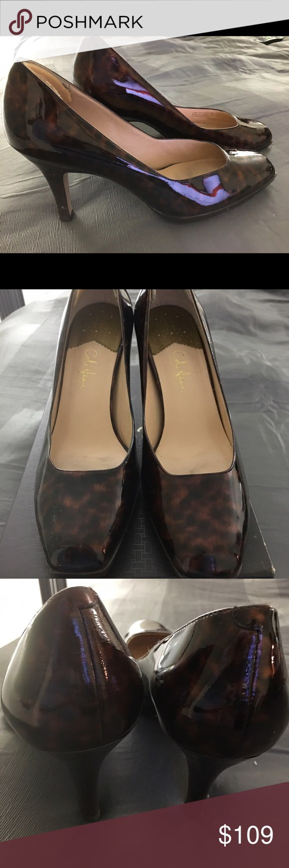 Cole Haan Size 10 Tortoise Color Patent Heel Lightly used tortoise shell patent leather heels. 2.5inch heels. Extremely comfortable. Cole Haan Shoes Heels