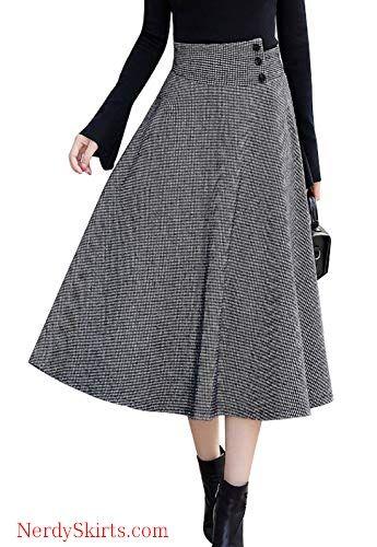 a7be5d54a chouyatou Women's Mid-Calf A-Line Pleated Long Houndstooth Wool Skater Skirt