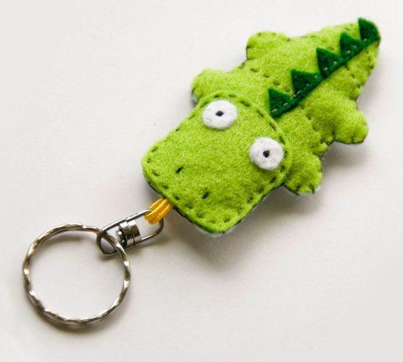Crocodile felt keychain, green cute animal keychain charm, stuffed funny animal…