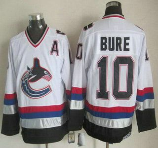 Vancouver Canucks Jersey 10 Pavel Bure 1997-98 White CCM Vintage Throwback Jerseys