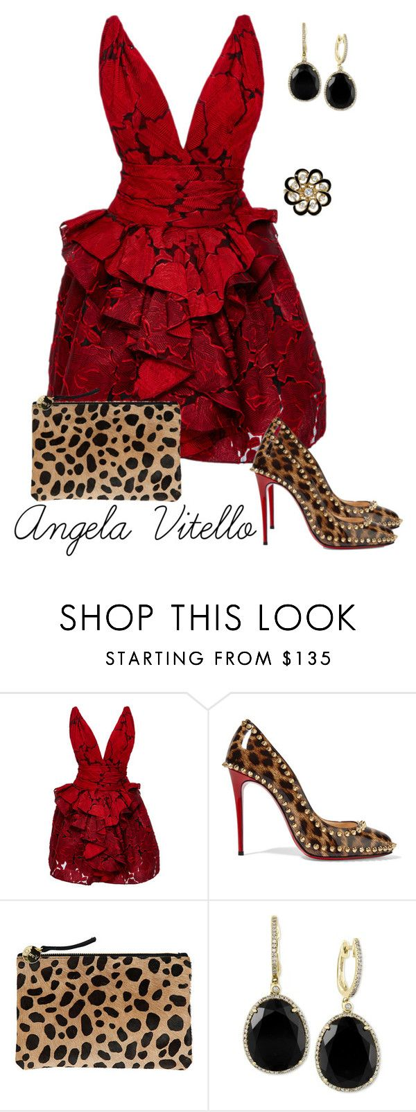 """""""Untitled #665"""" by angela-vitello on Polyvore featuring Marchesa, Christian Louboutin, Clare V., Effy Jewelry, women's clothing, women, female, woman, misses and juniors"""