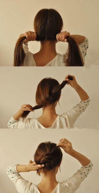 1、後ろ髪を二つに分けて、髪を結びます(リボンやロープを結ぶように)  2、長い場合はもう一度結びます  3、結んででてきた方向と反対に髪をもっていき、ピンで留めて完成です☆