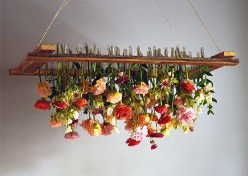 DIY Hanging Floral Arrangement #diy #flowers #floral #chandelier
