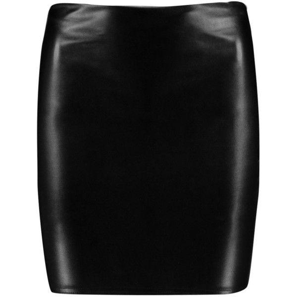Boohoo Lexie Leather Look Mini Skirt ($14) ❤ liked on Polyvore featuring skirts, mini skirts, leather look mini skirt, short skirts, leather look skirt, short mini skirts and vegan leather skirt