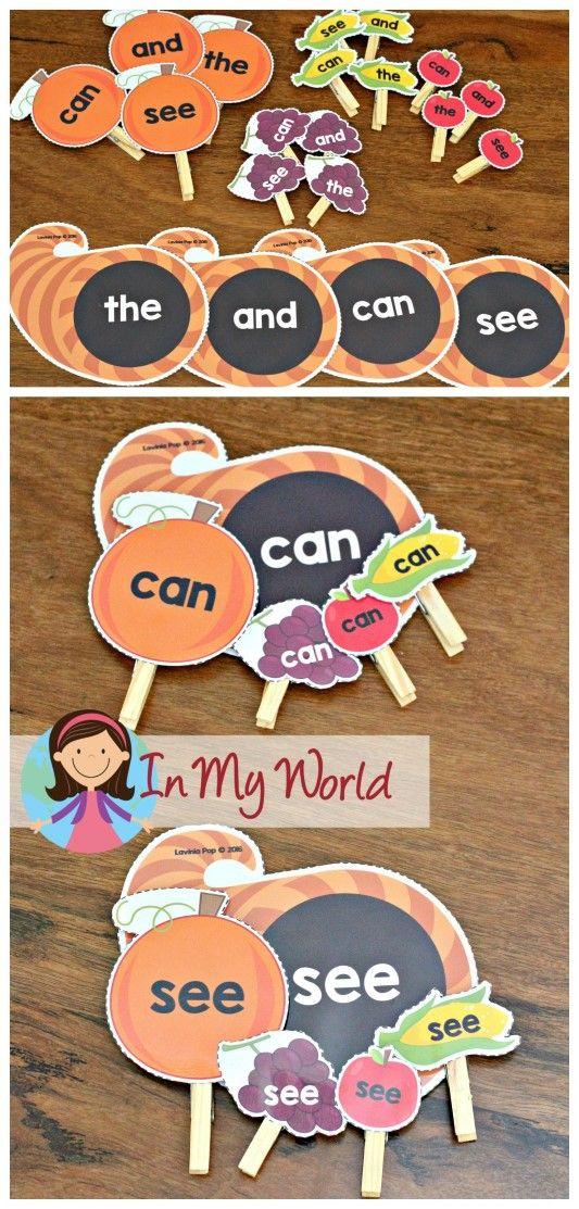 FREE Preschool Thanksgiving Centers sight words cornucopia matching activity