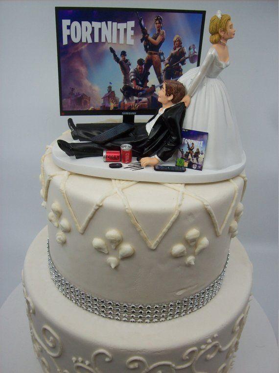 Gamer Funny Wedding Cake Topper Video Game Fort Gaming Junkie Etsy Funny Wedding Cake Toppers Funny Wedding Cakes Wedding Cake Toppers