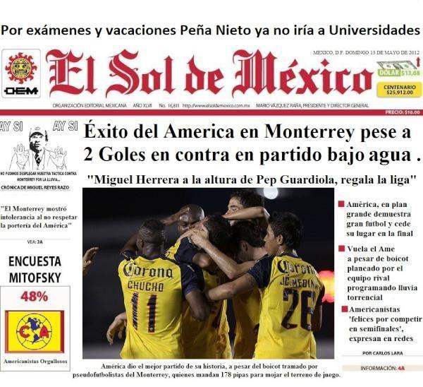Éxito del América en Monterrey pese a 2 goles en contra en partido bajo agua. Se dice que el rival regio programó lluvias torrenciales.