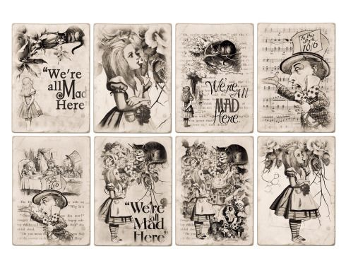 Alice in Wonderland Free Printables | Free Alice In Wonderland ATC Tags Background Digital Collage Sheet