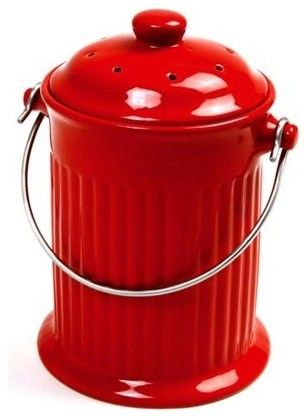 Norpro 1 Gallon Ceramic Compost Keeper, Red - modern - waste baskets - - by Amazon