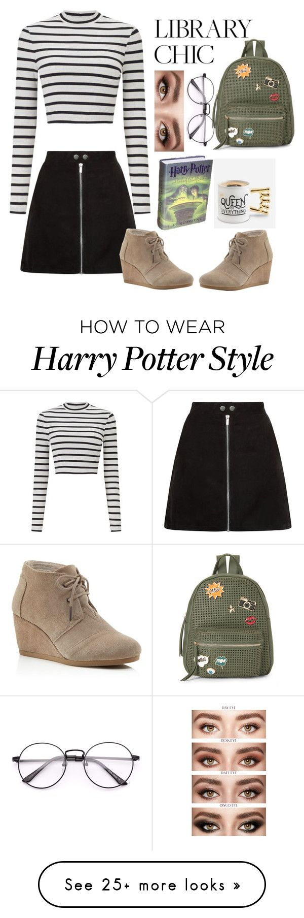 """Library Queen"" by alexandrabryant004 on Polyvore featuring Miss Selfridge, IMoshion, TOMS and BigMouth"