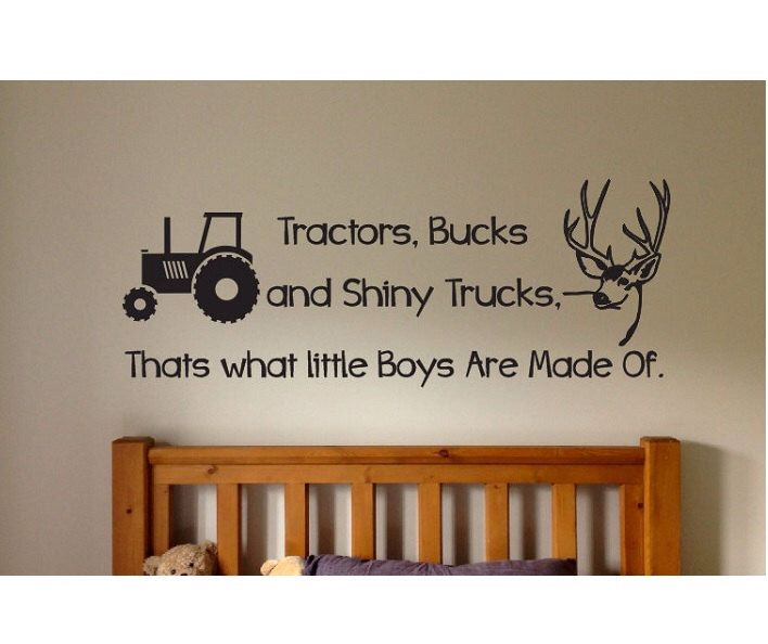Tractors Bucks and Trucks Wall Decal Sticker Large Farm kids bedroom big room animals dump truck kid boy car country hunting fishing deer by ColtonsPlace on Etsy (null)