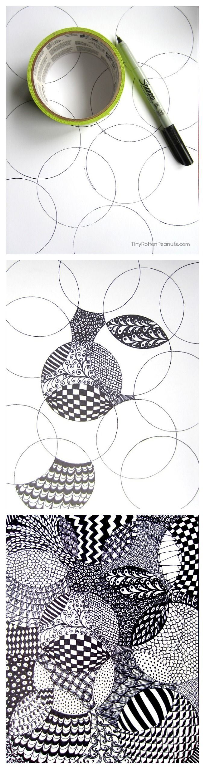3857 best zentangles images on pinterest mandalas for Ink drawings easy