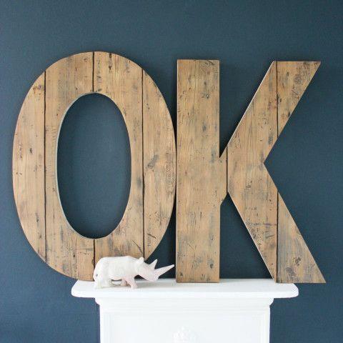 Oversized Handmade Reclaimed Wooden OK Sign