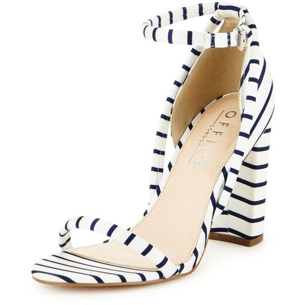 Office Stripes Barely There Sandal ($74) ❤ liked on Polyvore featuring shoes, sandals, blue sandals, block heel sandals, office shoes, white sandals and white block-heel sandals