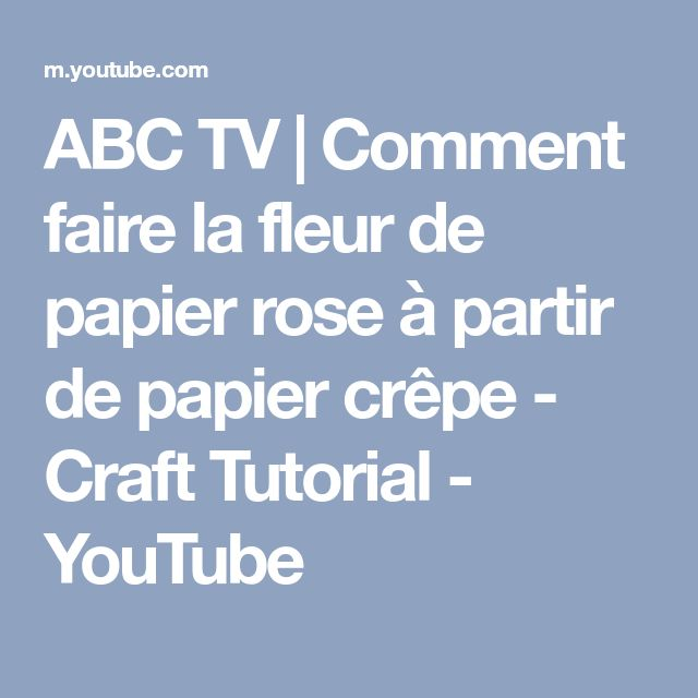 ABC TV | Comment faire la fleur de papier rose à partir de papier crêpe - Craft Tutorial - YouTube