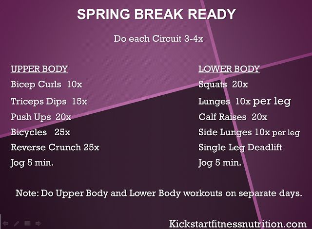 Spring Break/ Beach Body workout - circuits for upper and lower body. Complete 3-4 sets of each circuit. Do Upper Body on a separate day than Lower Body!