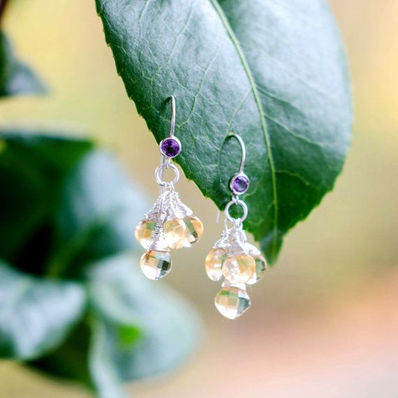 Silver Amethyst Citrine Dangle Earrings by Jeva Jewels on #Etsy #JevaJewels #handmadejewelry #statementnecklace #swissmade