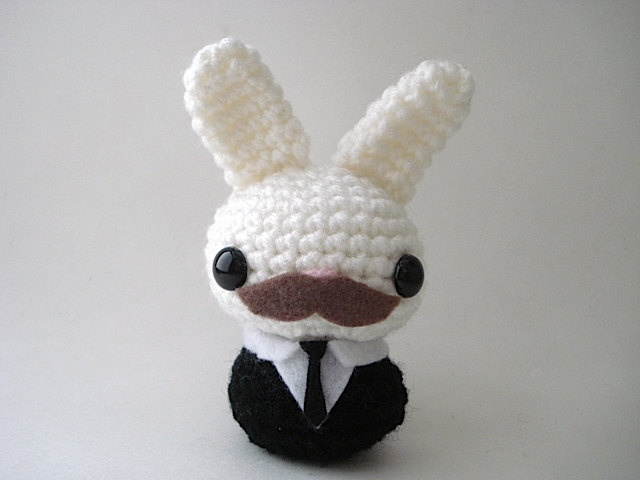 Manly Moon Bun - OoAK Amigurumi Bunny Rabbit - Bob. $18.00, via Etsy.