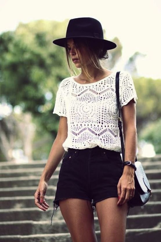 How to Style Black Shorts for Summer ~ Black Shorts Outfit with lace top and black hat www.thechicsite.com