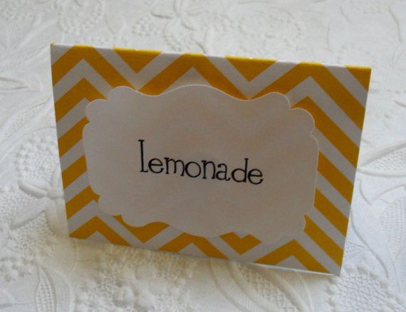 12 Yellow Chevron Food Labels, Lemonade Theme Party, Summer Party, Food Bar Labels by WithLovebyTwoSisters, $10.00