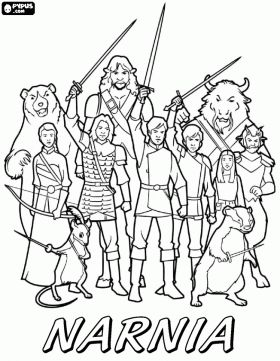 The army of Narnia ready for combat coloring page - lots of Narnia coloring pages