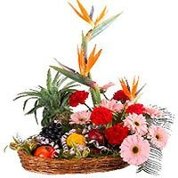 Happy Day-This fresh colourful arrangement contains fresh seasonal flowers(Gerberas, Carnations and Bird of Paradise) and fresh fruits(apples, pears, oranges and a pineapple). Basket items may vary due to Seasonal availability.