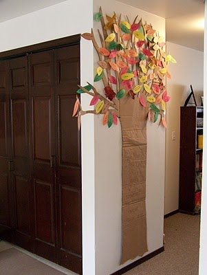 thankful tree: The Doors, Thanksgiving Activities, Thanksgiving Trees, Thanks Trees, Fall Thanksgiving, Cut Outs, Construction Paper, Kid, Trees Thanksgiving